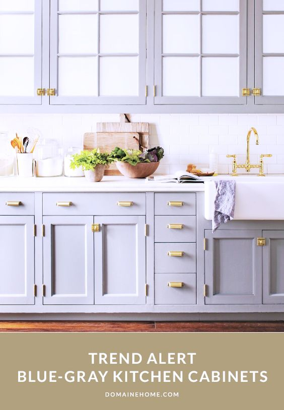 Having a moment blue gray kitchen cabinets grey for Blue gray kitchen cabinets