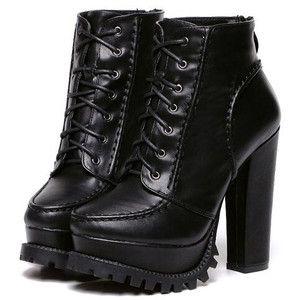 SheIn(sheinside) Black Chunky High Heel Hidden Platform Boots ...