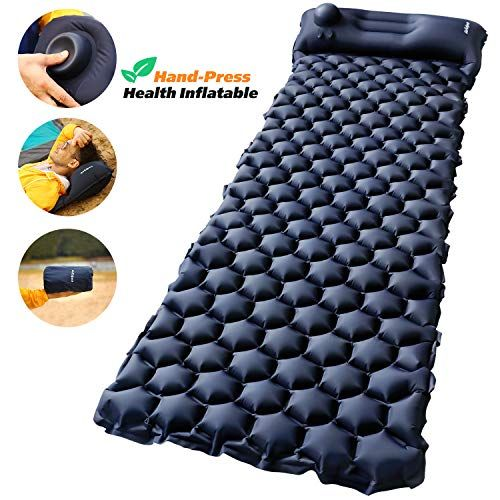 Airexpect Camping Sleeping Pad Mat Upgraded Hand Press Ultralight Inflatable Sleeping Pads With Pillow For Backpacking Traveling Hiking Durable Waterproof Air Camping Sleeping Pad Sleeping Pads Camping Mattress