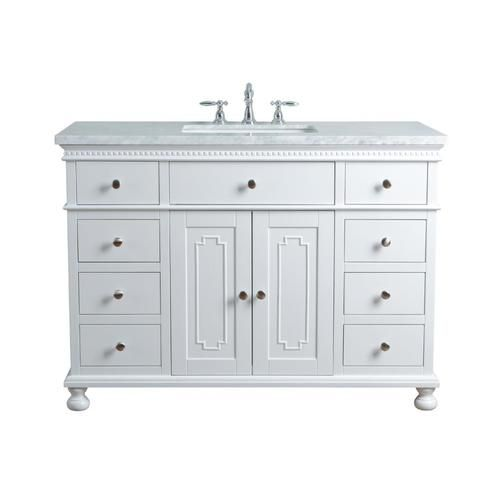 Stufurhome 48 In White Single Sink Bathroom Vanity With Carrara