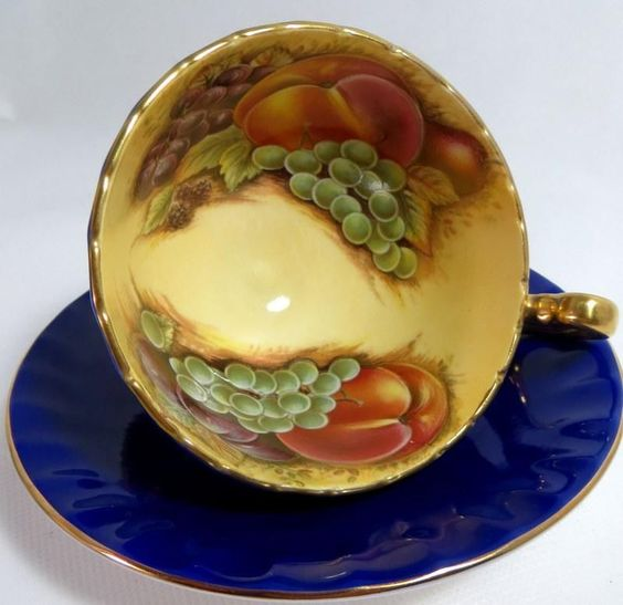 Vintage Aynsley Cobalt Blue Fruits Bone China Cabinet Tea Cup and Saucer 1972 A1
