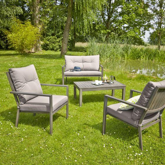 Salon d\'extérieur 4 pièces en aluminium 1 canapé, 2 fauteuils, 1 ...