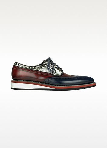Red, White and Blue Leather Wingtip Derby Shoes - Forzieri