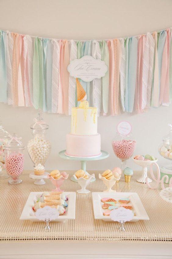 ice cream social theme Pastel Ice Cream Social via Kara's Party Ideas | Cake, decor, cupcakes, games and more! KarasPartyIdeas.com #icecreamsocial #iceceamparty #n...