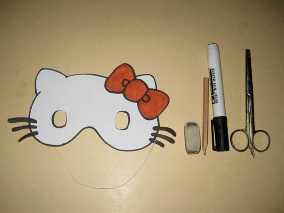 Hello kitty masks and kitty on pinterest for Hello kitty mask template