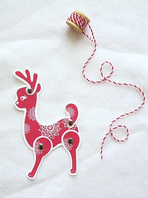 DIY Holiday Paper Reindeer Postcard & Tag