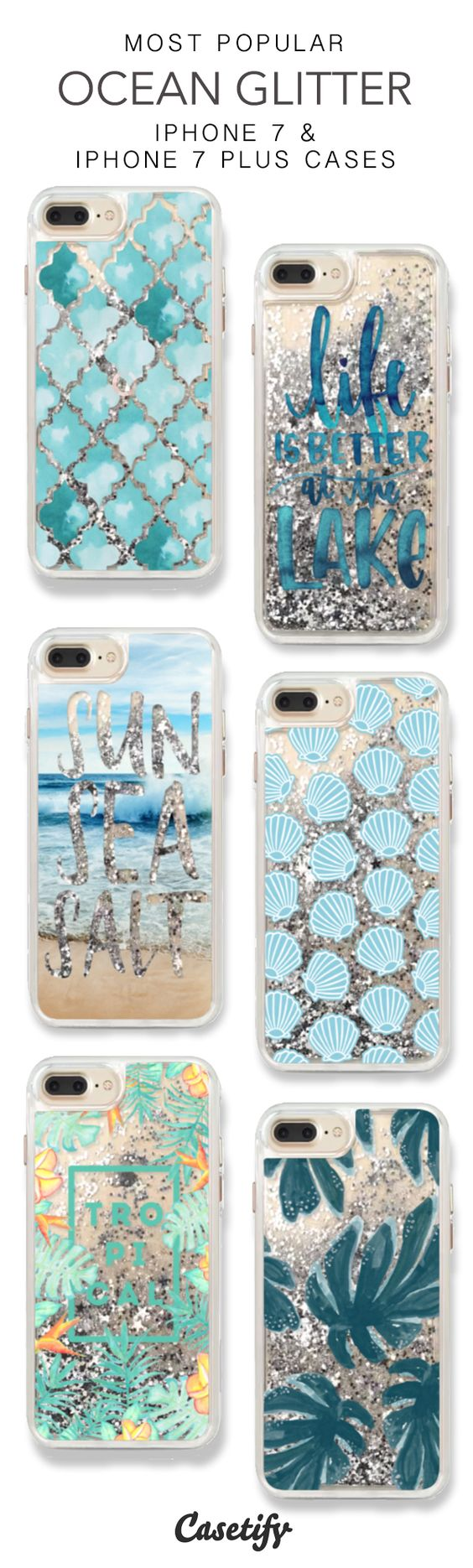 Most Popular Ocean Glitter iPhone 7 Cases & iPhone 7 Plus Cases. More glitter iPhone case here >  https://www.casetify.com/en_US/collections/iphone-7-glitter-cases#/: