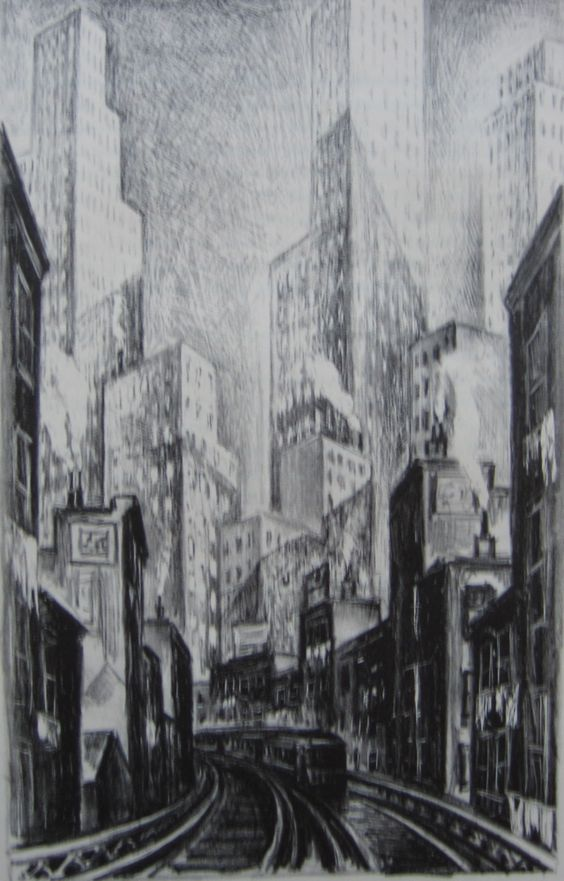 Adriaan Lubbers, The El at Chatham Square  Lithograph, 1930