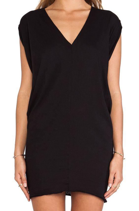 Bobi Light Weight Jersey Batwing Dress in Black