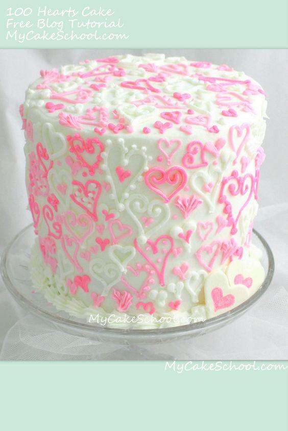 100-Hearts-Cake~ Blog tutorial by MyCakeSchool.com