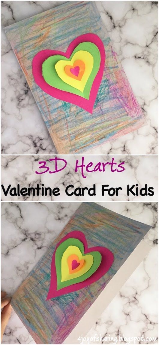 3d Hearts Valentine Card For Kids Activities For Kids