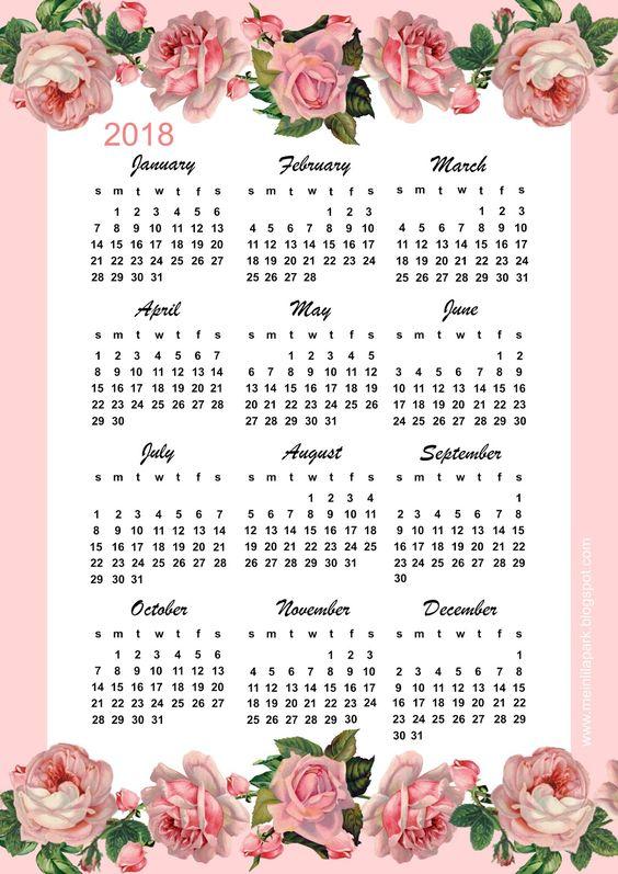 FREE printable 2018 calendar: pink vintage rose calendar