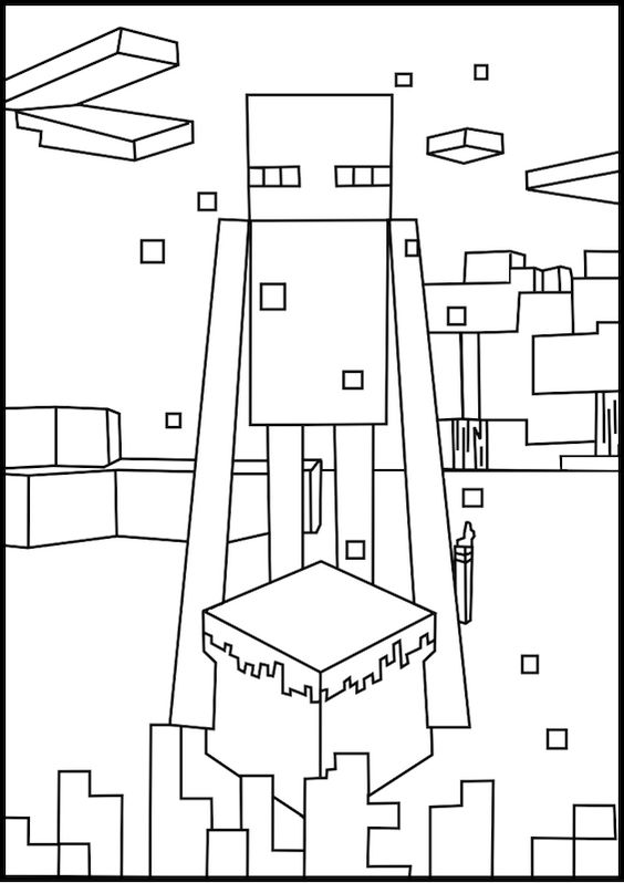 minecraft coloring pages enderman face - photo#9