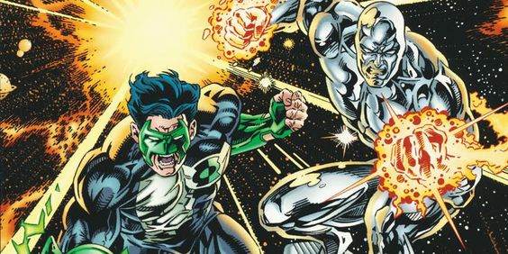 DC's Green Lantern fights with Marvel's, silver surfer