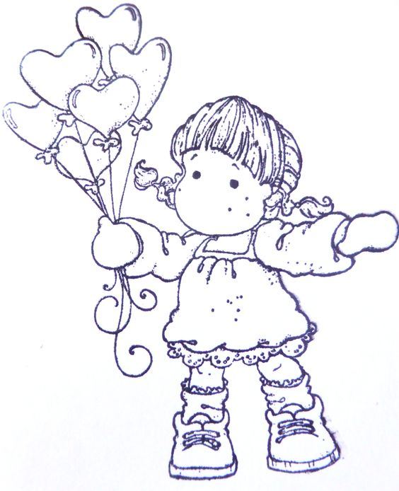 Tilda with heart balloon.