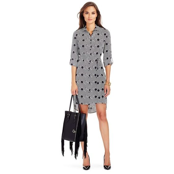 DIANE VON FURSTENBERG Prita Silk Shirt Dress ($258) ❤ liked on Polyvore featuring dresses, geo stripes black, black dress, diane von furstenberg dresses, belted dress, black sleeve dress and shirt-dress