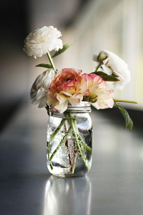 mason jars flowers.