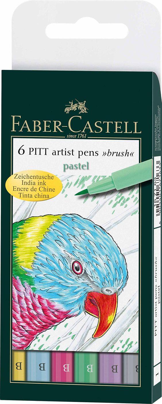 Faber-Castell 167163 - Tuschestift Pitt artist pen Pastel, 6er Packung, Stärke: B: Amazon.de: Bürobedarf & Schreibwaren