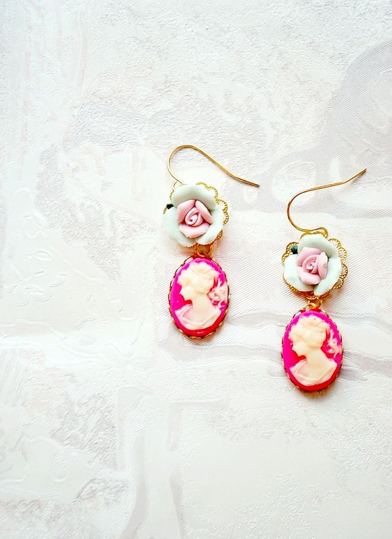 Neon pink lady cameo earrings with porcelain roses - a delicate pair of dangle earrings in strong pink, mint and pastel pink. $34.29