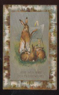 Bunny Rabbit Teacher with Chalk Board & Little Bunnys Easter Postcard-bbb433