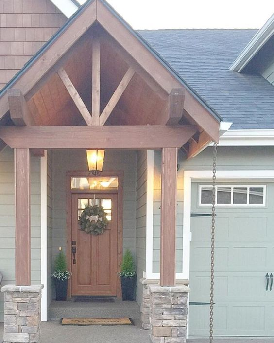Exposed beam with cedar web entryway. I titled this style Craftsman Lodge which is perfect for the PNW. Sherwin Williams Connected Gray