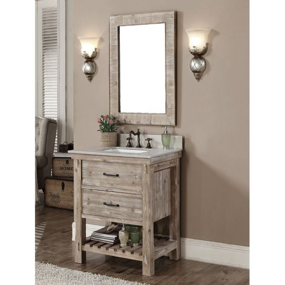 Accos 30 Inch Rustic Bathroom Vanity With Matching Wall Mirror Http://www.listvanities.com