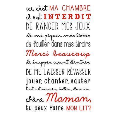 Sticker Mural Ma Chambre Noir Et Rouge 40 X 70 Cm Maison Id Es Pinterest Murals Parfait