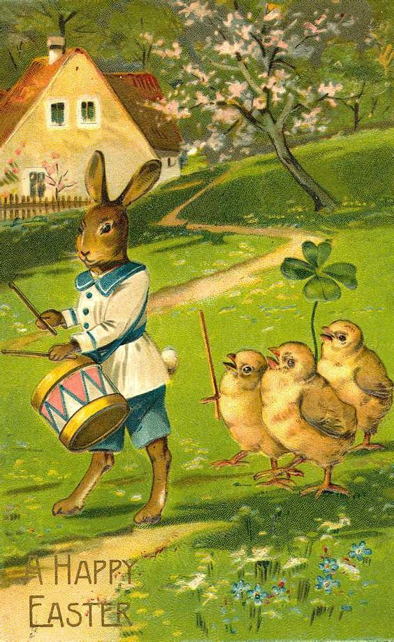 drummer bunny with chicks following: