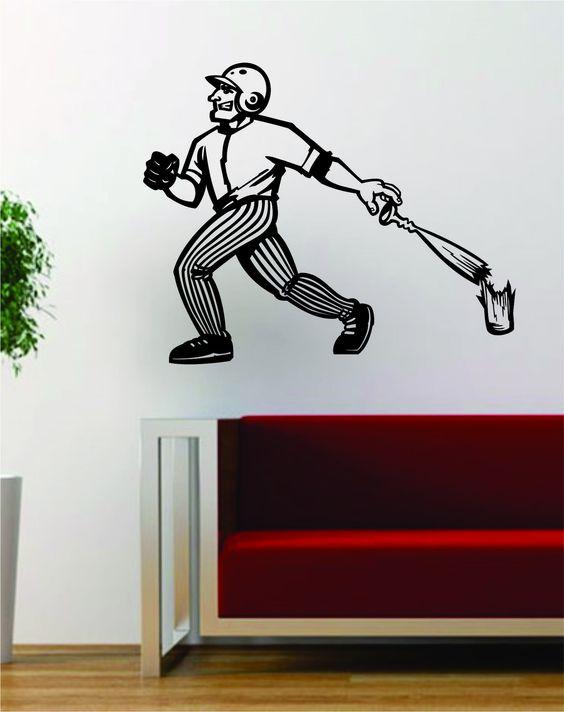 Baseball Home Run Broken Bat Sports Design Decal Sticker Wall Vinyl Art Decor Home