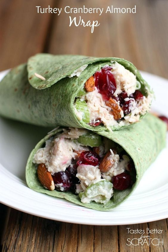 This Turkey Cranberry Almond Wrap is the perfect meal with Thanksgiving leftovers!