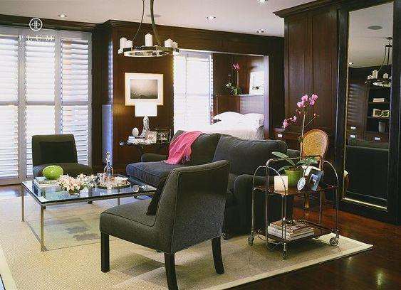 McGill Design Group - living rooms - gray sofa, dark gray sofa, gray chairs, dark gray chairs, glass top coffee table, bar cart, living room...