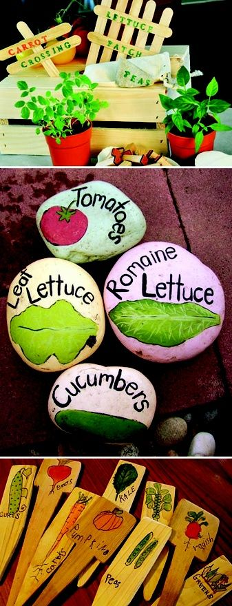 Have your kids help make fun markers to identify the veggies growing in the garden.
