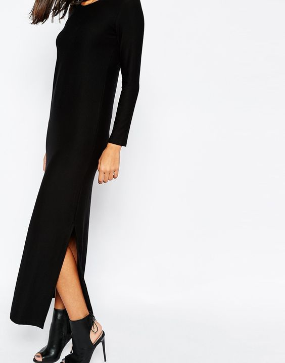 Image 3 ofSisley Maxi Dress in Black with Side Split