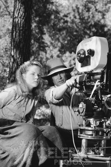 a rare shot of Melissa Sue Anderson (Mary) and Michael Landon (Charles) on the set of Little House on the Prairie.