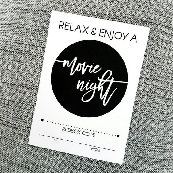 Printable Enjoy a Movie Night Redbox Gift Card by WeNoStudiosArt