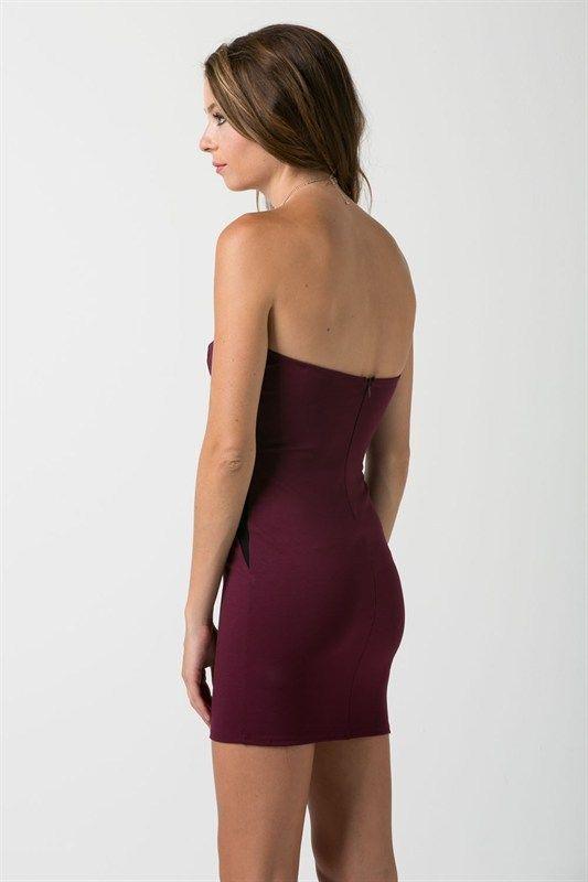 Burgundy Deep Plunge Strapless Mini Dress