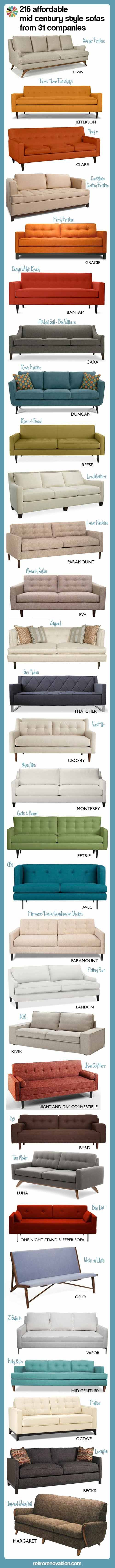 216 affordable mid century modern style sofas -- from 31 companies - Retro Renovation