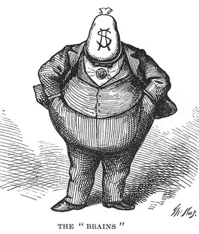 "A classic cartoon of William ""Boss"" Tweed -- the infamous & corrupt New York politician from the 1870s -- as portrayed by Thomas Nast. http://en.wikipedia.org/wiki/Thomas_Nast:"