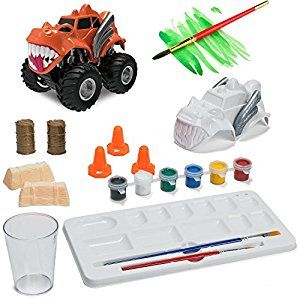 Amazon.com: Prextex Paint Craft, Make And Paint Your Own Monster Truck 15 PC Craft kit Set a Creative Christmas Craft Toy for Boys: Toys & Games
