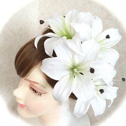 カサブランカ豪華アートフラワー髪飾り5点セット