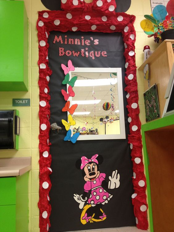 Decorate girls bathroom door in a classroom to show Minnie  39 s Bowtique  Mickey Mouse Clubhouse. Decorate girls bathroom door in a classroom to show Minnie  39 s