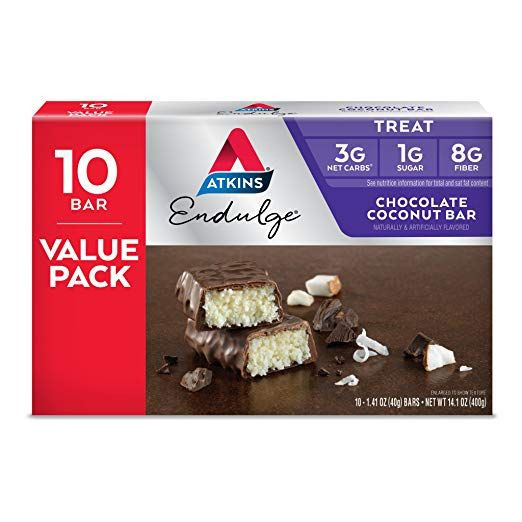 Amazon Com Atkins Endulge Treat Chocolate Coconut Bar Keto Friendly 10 Count Value Pack Grocery Coconut Chocolate Bars Coconut Bars Chocolate Coconut