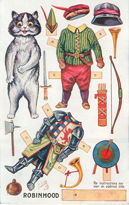 Louis Wain cat paper dolls, published as postcards. Several sets, drawn for stories such as Cinderella, Little Red Riding Hood, Beauty and the Beast, Alladin & Robin Hood (shown).