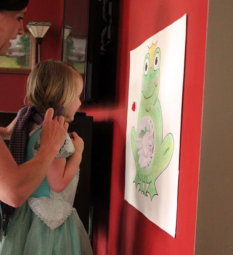 princess party game: pin the kiss on the frog