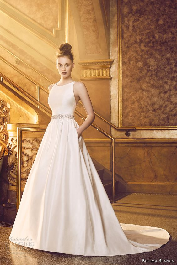 Romantic neckline and a line on pinterest for Simple romantic wedding dresses