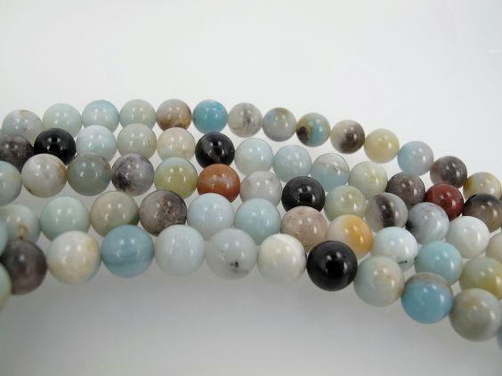 Multicolor Amazonite Round beads. 8mm Amazonite beads. Semi-Precious gemstone. by Susiesgem on Etsy