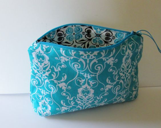 Turquoise Cosmetic Bag Makeup BagCute Cosmetic Bag by ClemmieVs