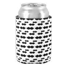 White With Black Mustaches Can Cooler