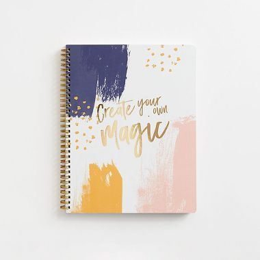 Writing and drawing in a notebook is one of the easiest ways to create your own magic. Draw and write about mystical creatures in far away lands in this spiral bound notebook that features a purple