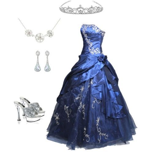 Blue Ball Gown with Silver tiara ,earrings , heels via imgfave.com
